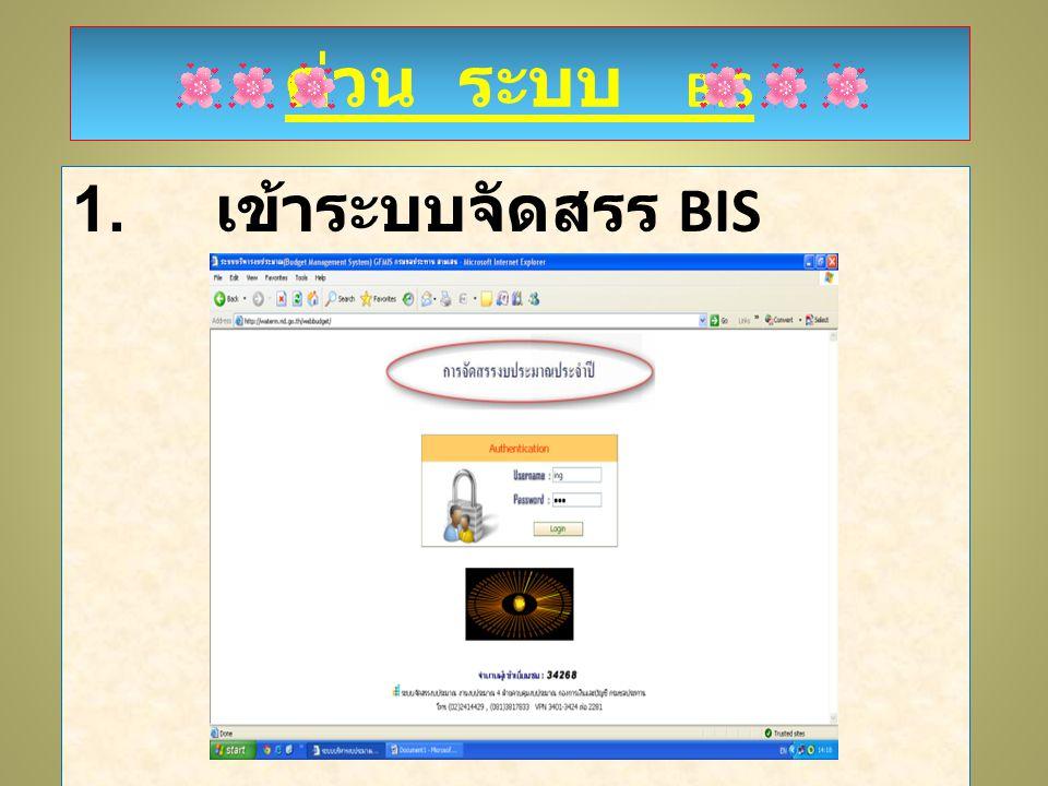 ด่วน ระบบ BIS 1. เข้าระบบจัดสรร BIS ด่วน ระบบ BIS