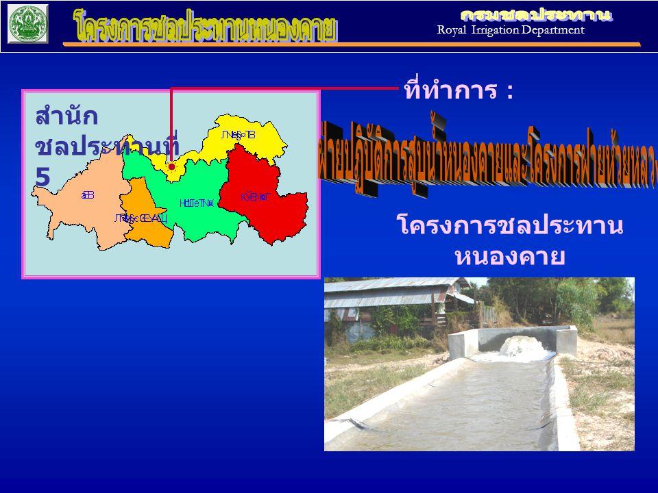 สำนัก ชลประทานที่ 5 ที่ทำการ : โครงการชลประทาน หนองคาย อ. เมือง จ. หนองคาย Royal Irrigation Department