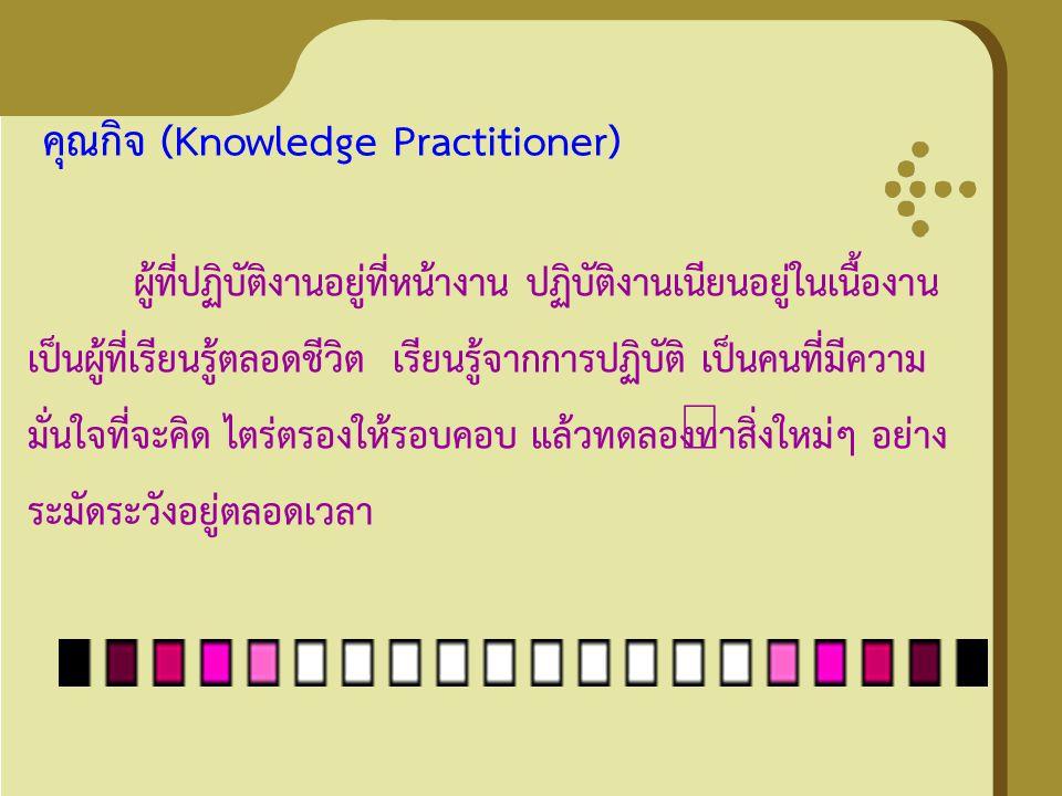 คุณกิจ (Knowledge Practitioner) ผู้ที่ปฏิบัติงานอยู่ที่หน้างาน ปฏิบัติงานเนียนอยู่ในเนื้องาน เป็นผู้ที่เรียนรู้ตลอดชีวิต เรียนรู้จากการปฏิบัติ เป็นคนท