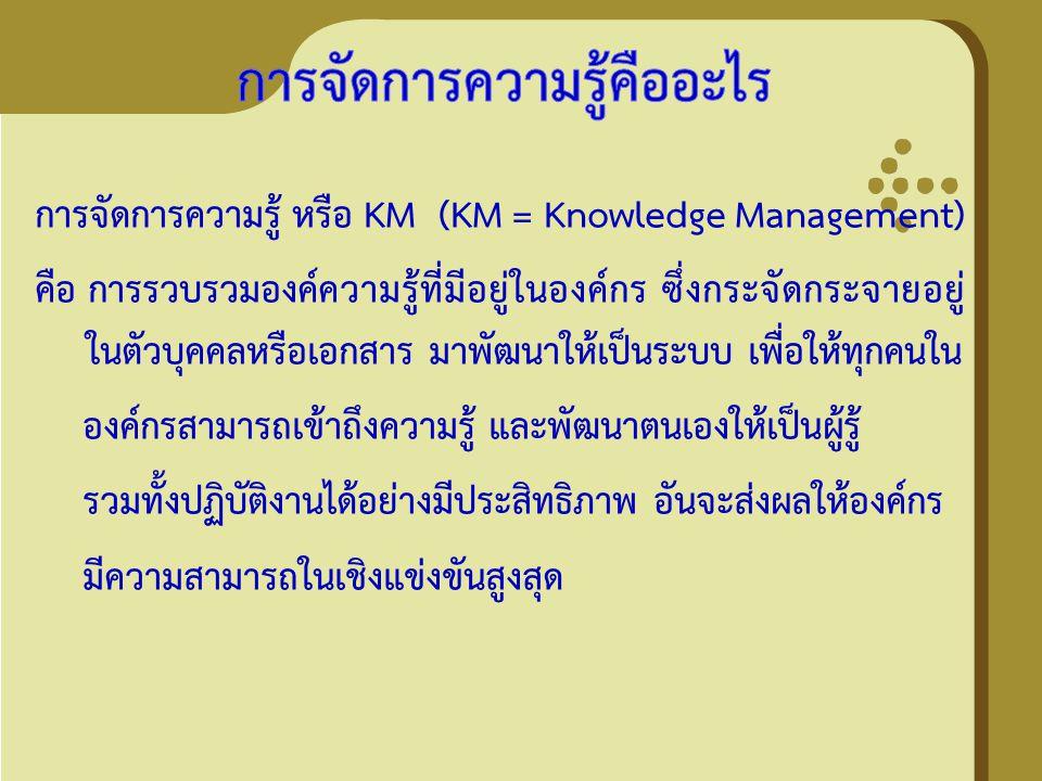 การจัดการความรู้ หรือ KM (KM = Knowledge Management) คือ การรวบรวมองค์ความรู้ที่มีอยู่ในองค์กร ซึ่งกระจัดกระจายอยู่ ในตัวบุคคลหรือเอกสาร มาพัฒนาให้เป็
