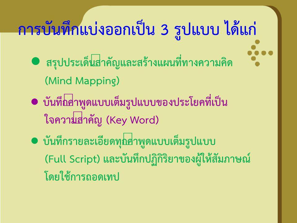 การบันทึกแบ่งออกเป็น 3 รูปแบบ ได้แก่ ● สรุปประเด็นสำคัญและสร้างแผนที่ทางความคิด (Mind Mapping) ● บันทึกคำพูดแบบเต็มรูปแบบของประโยคที่เป็น ใจความสำคัญ