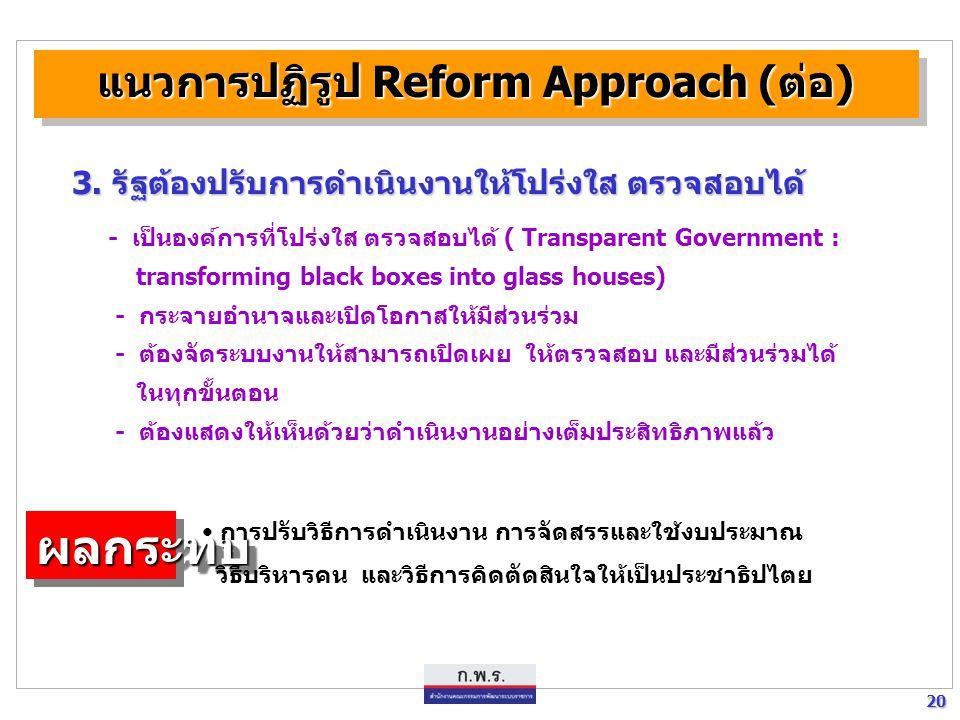 20 20 แนวการปฏิรูป Reform Approach (ต่อ) - เป็นองค์การที่โปร่งใส ตรวจสอบได้ ( Transparent Government : transforming black boxes into glass houses) - ก