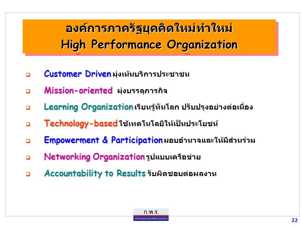 22 22  Customer Driven  Customer Driven มุ่งเน้นบริการประชาชน  Mission-oriented  Mission-oriented มุ่งบรรลุภารกิจ  Learning Organization  Learni
