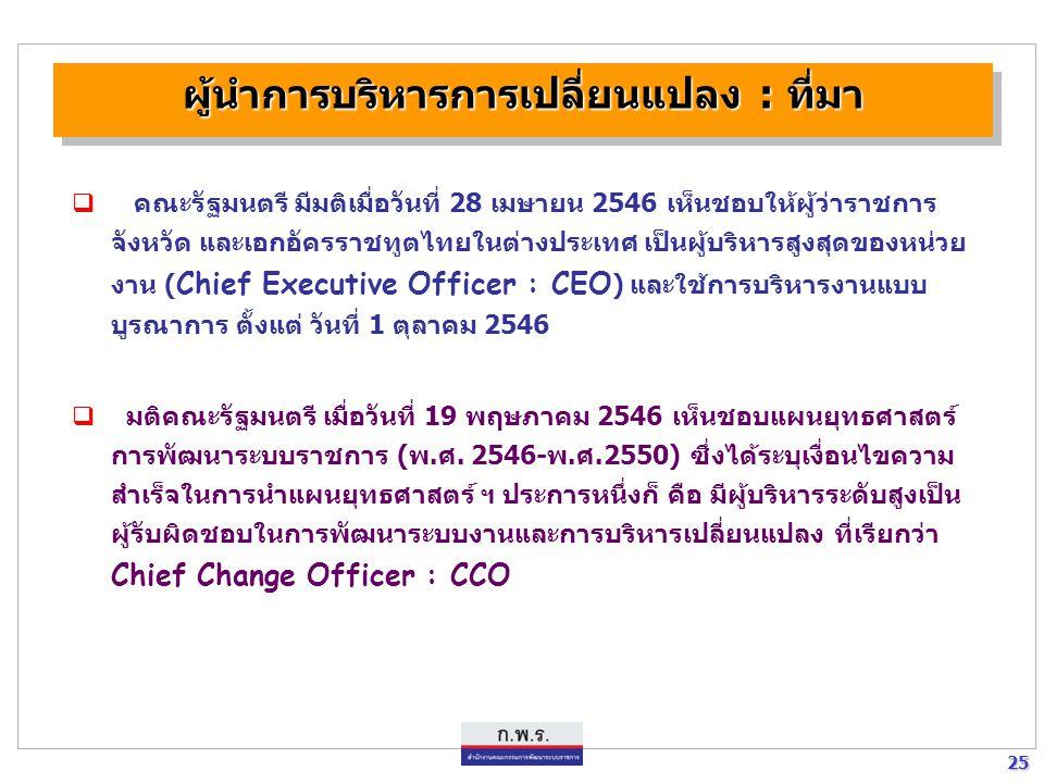 25 25 ผู้นำการบริหารการเปลี่ยนแปลง : ที่มา  คณะรัฐมนตรี มีมติเมื่อวันที่ 28 เมษายน 2546 เห็นชอบให้ผู้ว่าราชการ จังหวัด และเอกอัครราชทูตไทยในต่างประเท