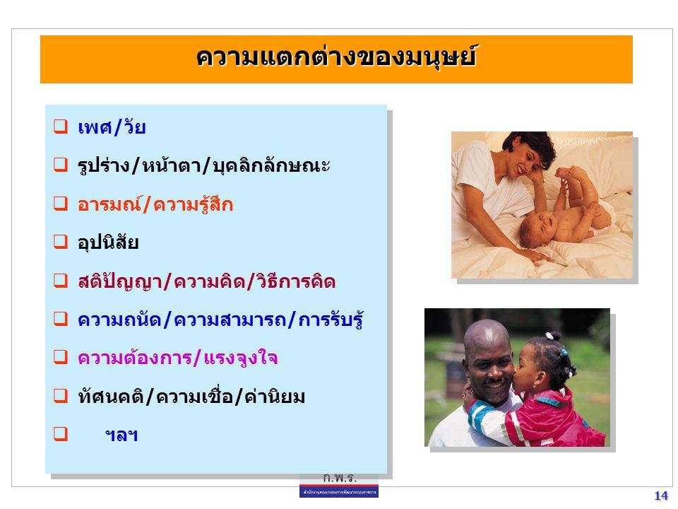 14 14  เพศ/วัย  รูปร่าง/หน้าตา/บุคลิกลักษณะ  อารมณ์/ความรู้สึก  อุปนิสัย  สติปัญญา/ความคิด/วิธีการคิด  ความถนัด/ความสามารถ/การรับรู้  ความต้องก