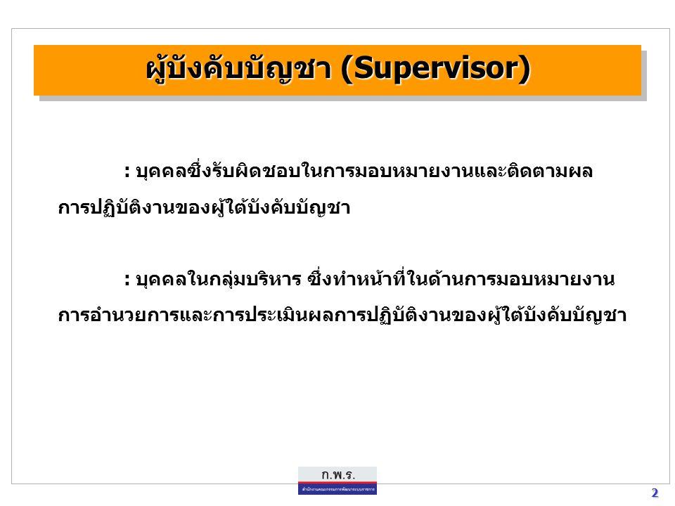 2 2 ผู้บังคับบัญชา (Supervisor) : บุคคลซึ่งรับผิดชอบในการมอบหมายงานและติดตามผล การปฏิบัติงานของผู้ใต้บังคับบัญชา : บุคคลในกลุ่มบริหาร ซึ่งทำหน้าที่ในด