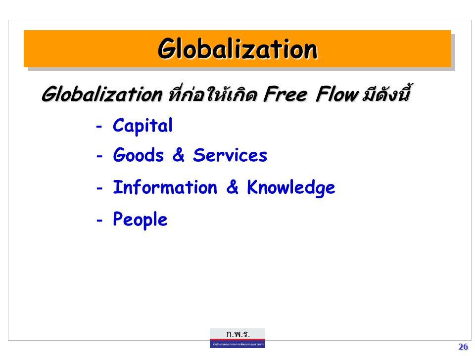 26 26 GlobalizationGlobalization Globalization ที่ก่อให้เกิด Free Flow มีดังนี้ - Capital - Goods & Services - Information & Knowledge - People