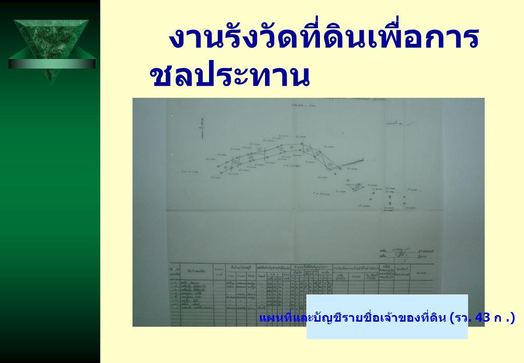 งานรังวัดที่ดินเพื่อการ ชลประทาน แผนที่และบัญชีรายชื่อเจ้าของที่ดิน ( รว. 43 ก.)