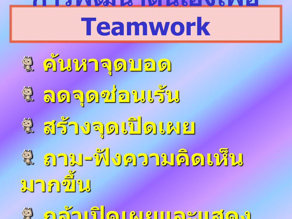 Synergy (Win- Win) ความ ร่วมมือ ความ ไว้ใจ ระดับการสื่อสาร Respect (Compromise) Defensive (Lose- Lose) (Assess your Synergy) 70 50 30 70 50 30 10 30 50 70 10