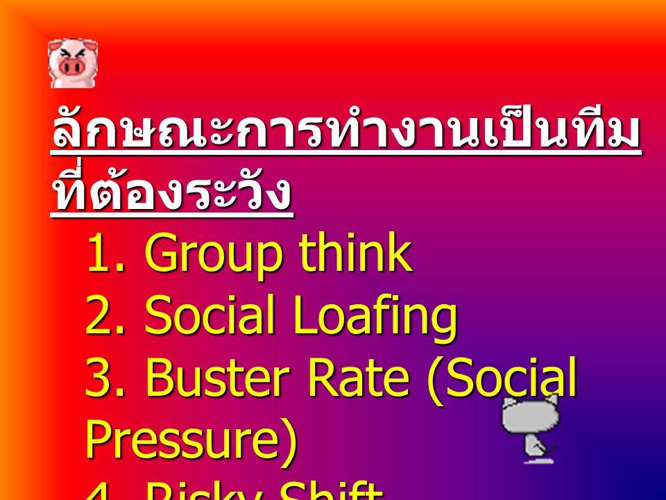 ลักษณะการทำงานเป็นทีม ที่ต้องระวัง 1. Group think 2. Social Loafing 3. Buster Rate (Social Pressure) 4. Risky Shift phenomena