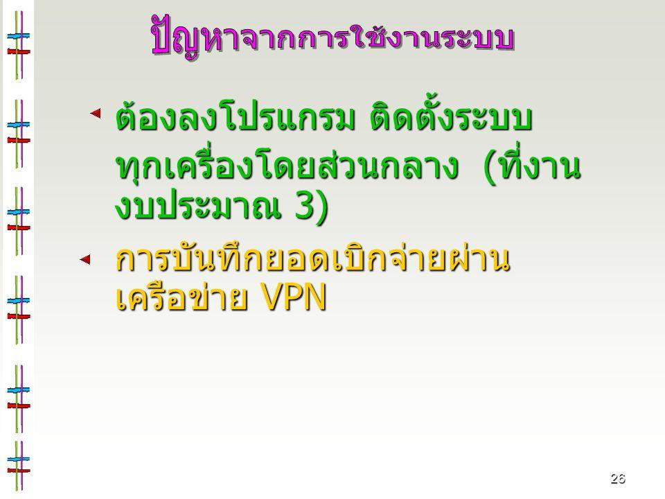 26 ต้องลงโปรแกรม ติดตั้งระบบ ทุกเครื่องโดยส่วนกลาง ( ที่งาน งบประมาณ 3) การบันทึกยอดเบิกจ่ายผ่าน เครือข่าย VPN