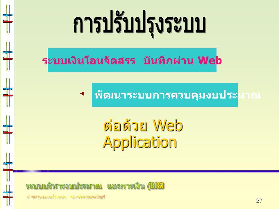 27 ต่อด้วย Web Application ระบบเงินโอนจัดสรร บันทึกผ่าน Web พัฒนาระบบการควบคุมงบประมาณ