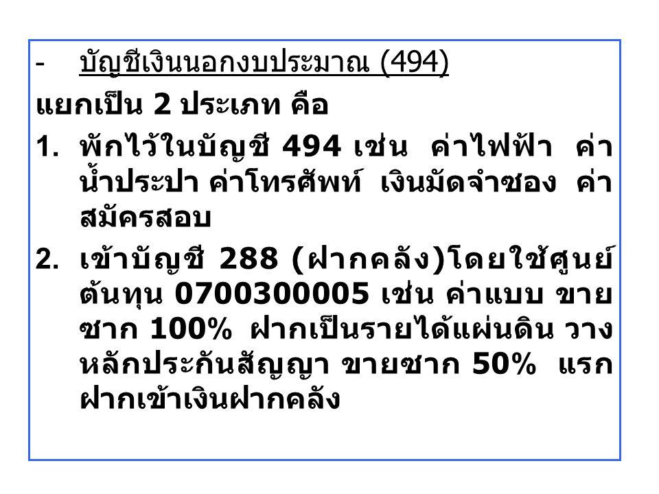 - บัญชีเงินนอกงบประมาณ (494) แยกเป็น 2 ประเภท คือ 1. พักไว้ในบัญชี 494 เช่น ค่าไฟฟ้า ค่า น้ำประปา ค่าโทรศัพท์ เงินมัดจำซอง ค่า สมัครสอบ 2. เข้าบัญชี 2
