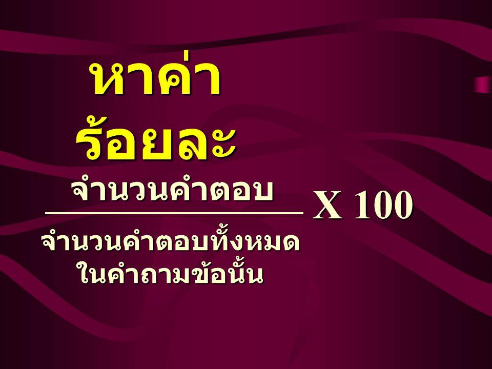หาค่า ร้อยละ จำนวนคำตอบทั้งหมด ในคำถามข้อนั้น จำนวนคำตอบ X 100