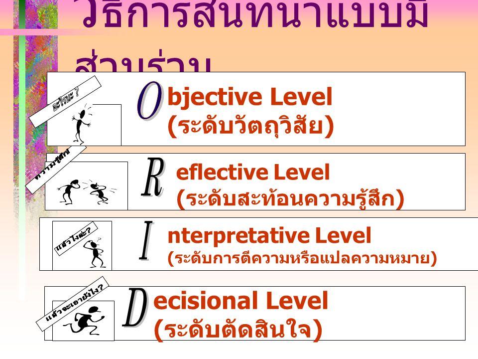 วิ ธีการสนทนาแบบมี ส่วนร่วม ecisional Level (ระดับตัดสินใจ) nterpretative Level (ระดับการตีความหรือแปลความหมาย) eflective Level (ระดับสะท้อนความรู้สึก