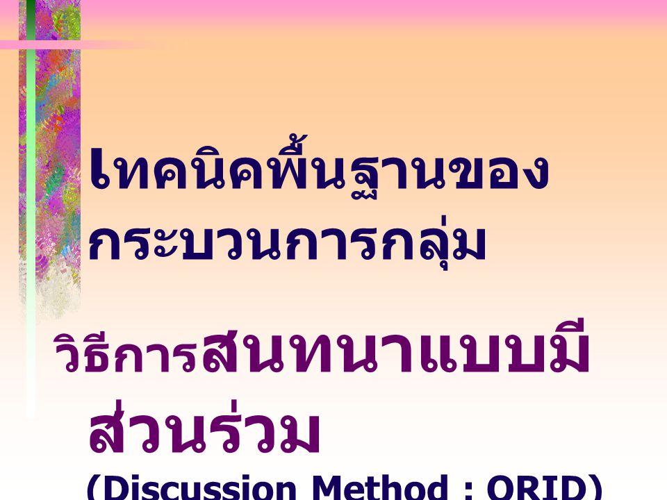 วิธีการ สนทนาแบบมี ส่วนร่วม (Discussion Method : ORID) เ ทคนิคพื้นฐานของ กระบวนการกลุ่ม