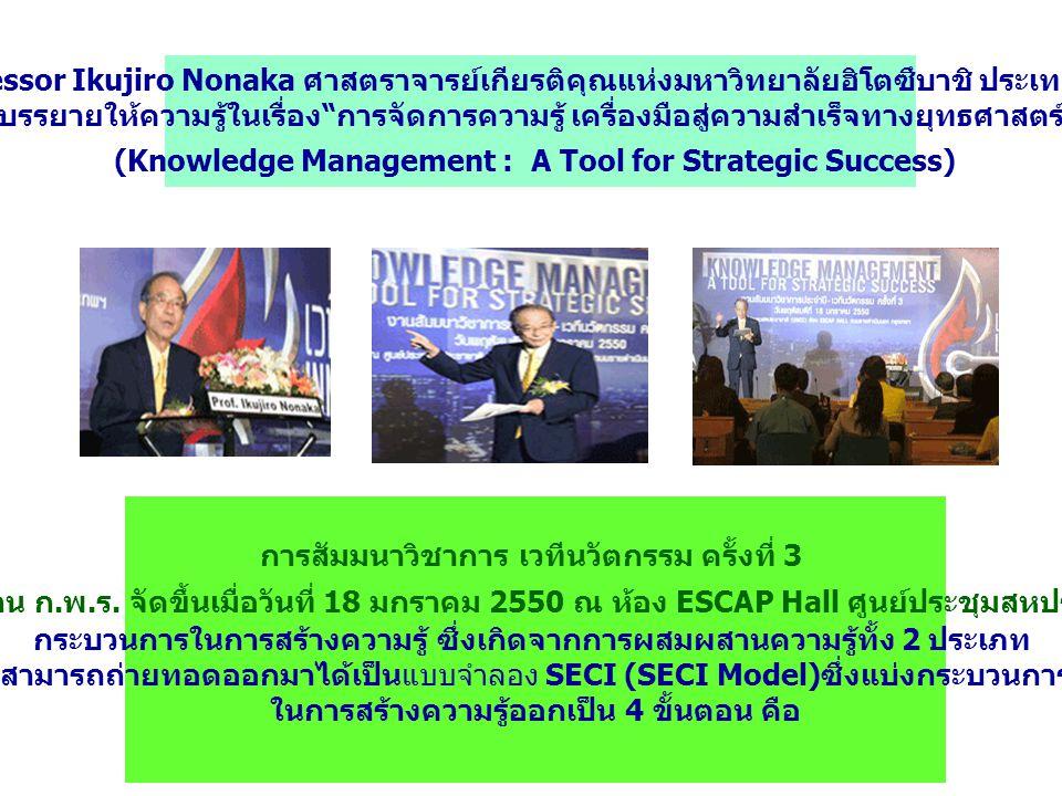 การสัมมนาวิชาการ เวทีนวัตกรรม ครั้งที่ 3 ที่สำนักงาน ก. พ. ร. จัดขึ้นเมื่อวันที่ 18 มกราคม 2550 ณ ห้อง ESCAP Hall ศูนย์ประชุมสหประชาชาติ กระบวนการในกา