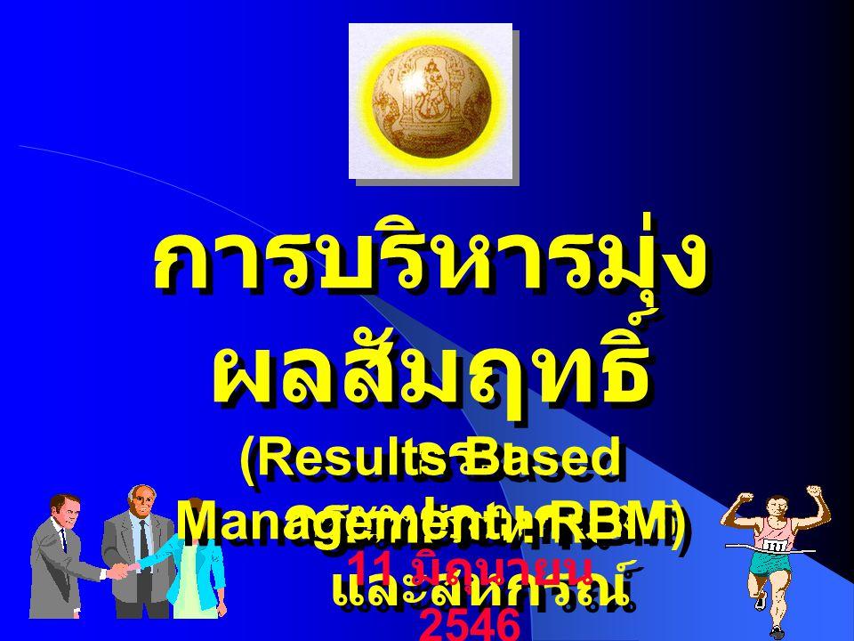 กระทรวงเกษตร และสหกรณ์ กรม ชลประทาน การบริหารมุ่ง ผลสัมฤทธิ์ (Results Based Management - RBM) การบริหารมุ่ง ผลสัมฤทธิ์ (Results Based Management - RBM