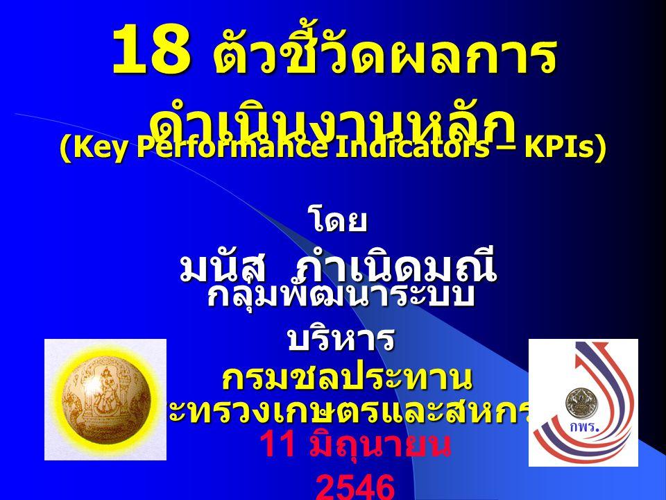 KPI 6.1 12 ภาย ใน องค์ กร ประสิทธิภาพชลประทาน ในฤดูฝน ความถี่การวัด: ทุก 1 ปี แบบฟอร์ม: RBM18 RBM19 BSC ชคบ./ชคป.
