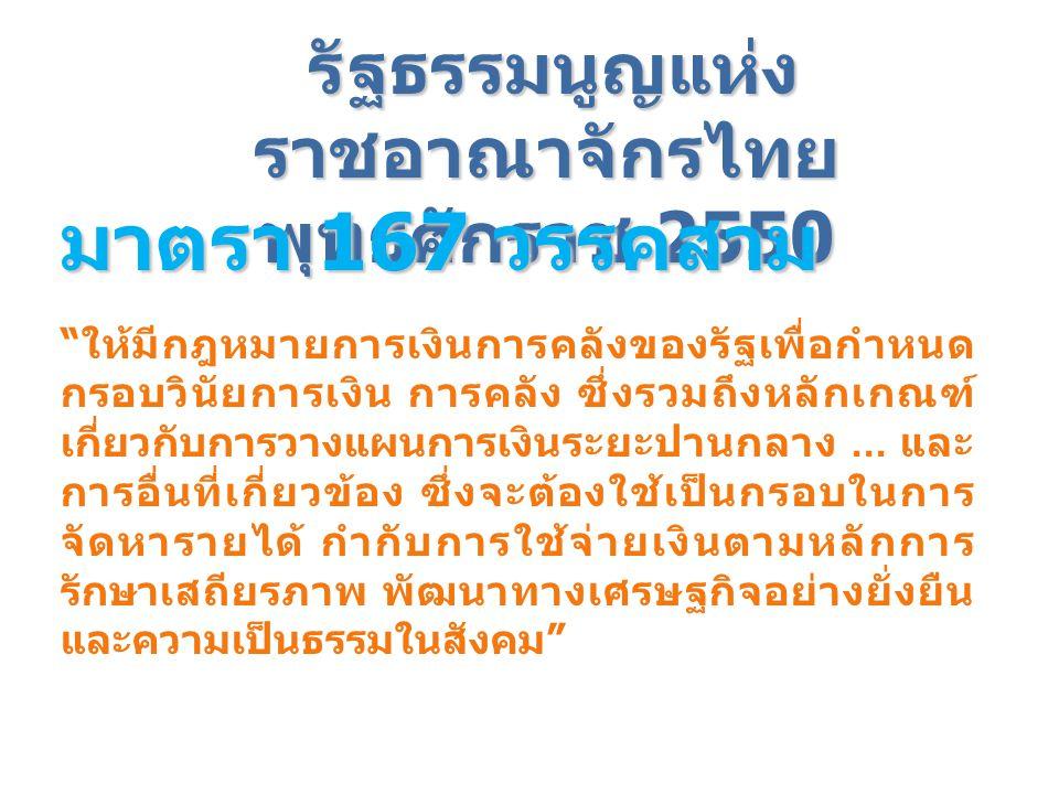 """รัฐธรรมนูญแห่ง ราชอาณาจักรไทย พุทธศักราช 2550 มาตรา 167 วรรคสาม """" ให้มีกฎหมายการเงินการคลังของรัฐเพื่อกำหนด กรอบวินัยการเงิน การคลัง ซึ่งรวมถึงหลักเกณ"""