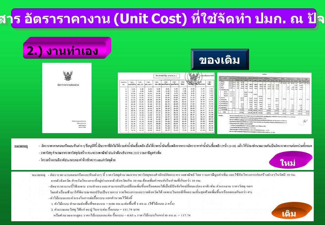 เอกสาร อัตราราคางาน (Unit Cost) ที่ใช้จัดทำ ปมก. ณ ปัจจุบัน เอกสาร อัตราราคางาน (Unit Cost) ที่ใช้จัดทำ ปมก. ณ ปัจจุบัน 2.) งานทำเอง ใหม่ เดิม ของเดิม