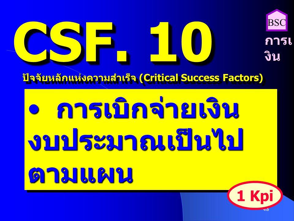48 CSF. 10 ปัจจัยหลักแห่งความสำเร็จ (Critical Success Factors) การเบิกจ่ายเงิน งบประมาณเป็นไป ตามแผน การเบิกจ่ายเงิน งบประมาณเป็นไป ตามแผน 1 Kpi การเ