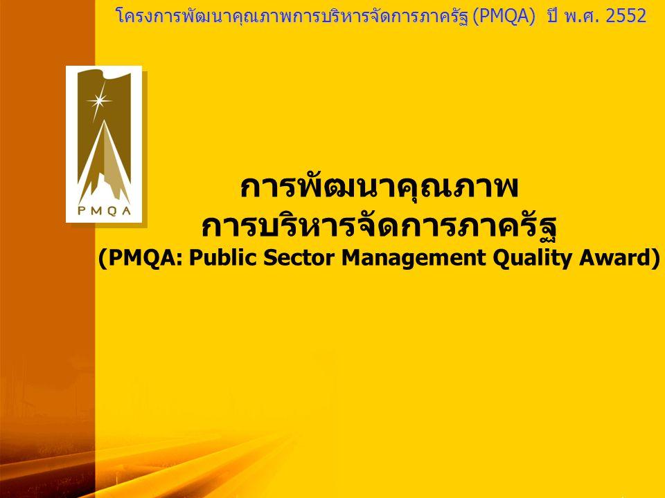 PMQA Organization โครงการพัฒนาคุณภาพการบริหารจัดการภาครัฐ (PMQA) ปี พ.ศ. 2552 การพัฒนาคุณภาพ การบริหารจัดการภาครัฐ (PMQA: Public Sector Management Qua