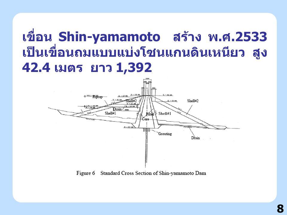 8 เขื่อน Shin-yamamoto สร้าง พ. ศ.2533 เป็นเขื่อนถมแบบแบ่งโซนแกนดินเหนียว สูง 42.4 เมตร ยาว 1,392