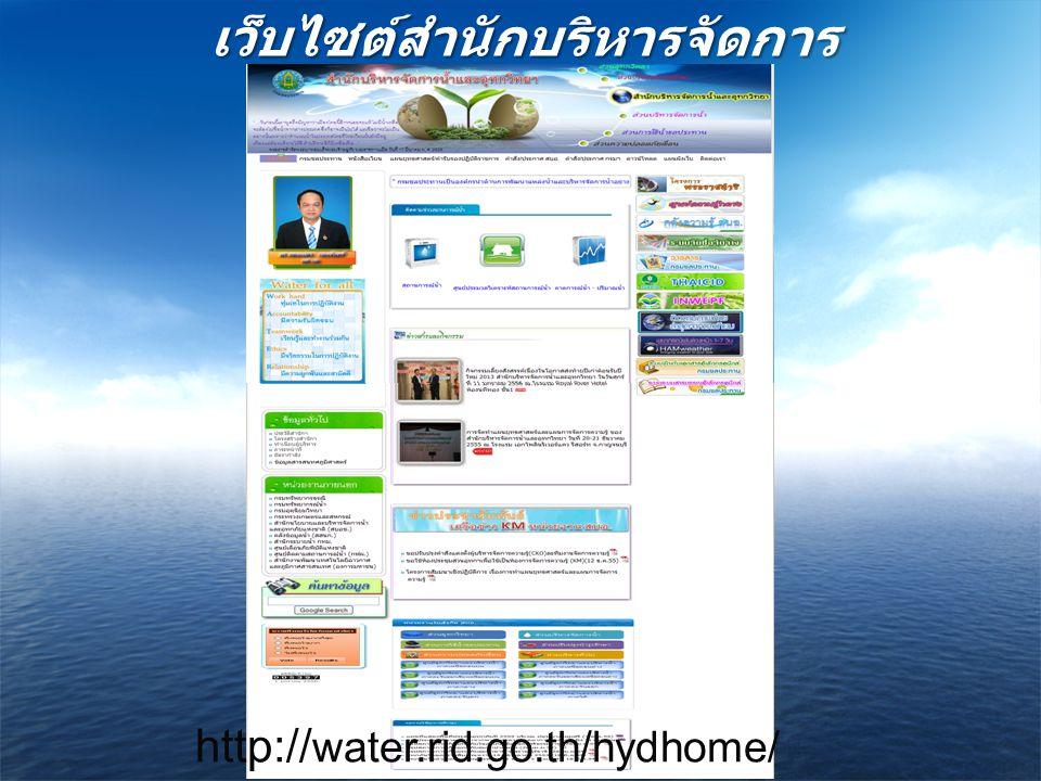 เว็บไซต์สำนักบริหารจัดการ น้ำและอุทกวิทยา http:// water.rid.go.th/hydhome/