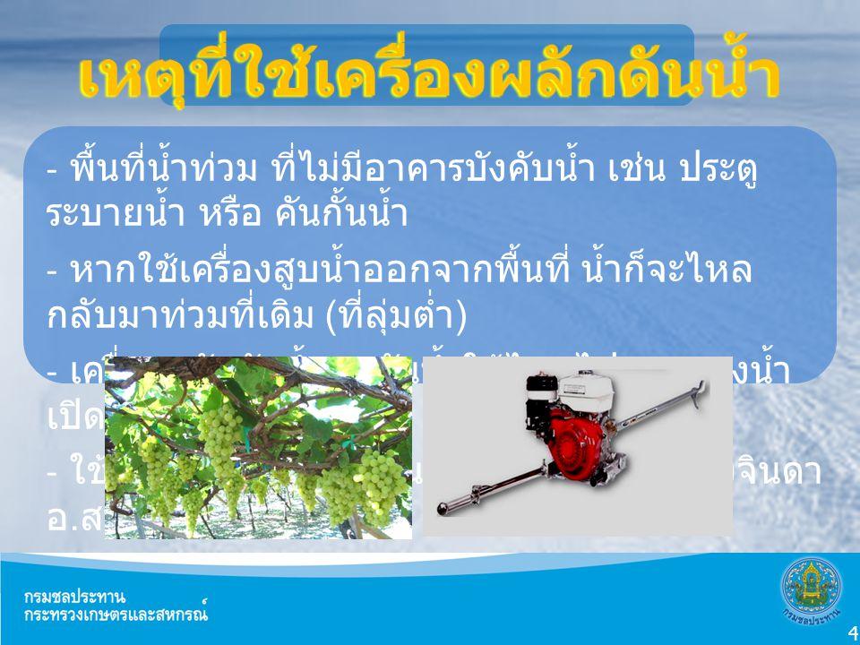 Doppler Effect - พื้นที่น้ำท่วม ที่ไม่มีอาคารบังคับน้ำ เช่น ประตู ระบายน้ำ หรือ คันกั้นน้ำ - หากใช้เครื่องสูบน้ำออกจากพื้นที่ น้ำก็จะไหล กลับมาท่วมที่