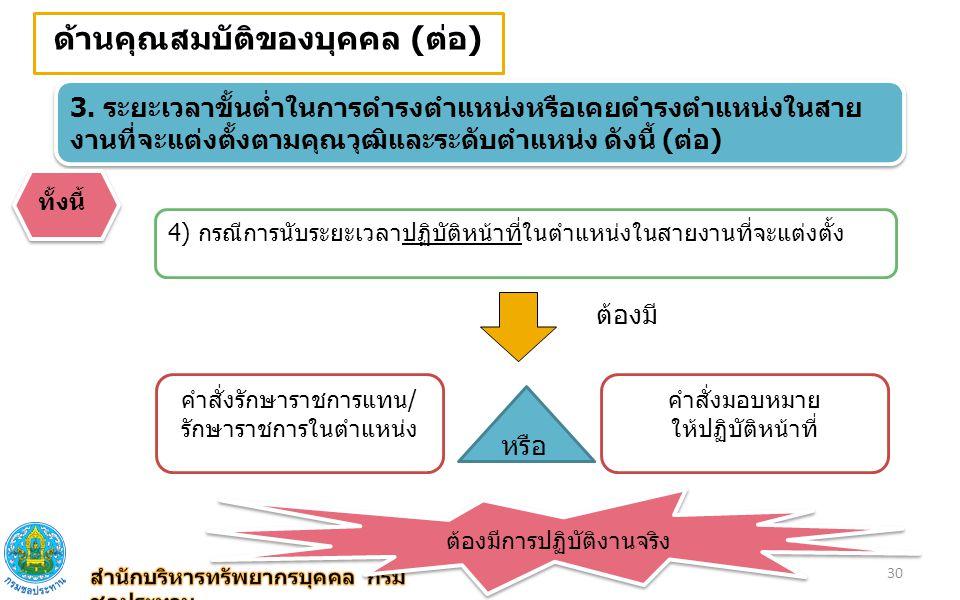 ด้านคุณสมบัติของบุคคล (ต่อ) 3. ระยะเวลาขั้นต่ำในการดำรงตำแหน่งหรือเคยดำรงตำแหน่งในสาย งานที่จะแต่งตั้งตามคุณวุฒิและระดับตำแหน่ง ดังนี้ (ต่อ) ทั้งนี้ 4