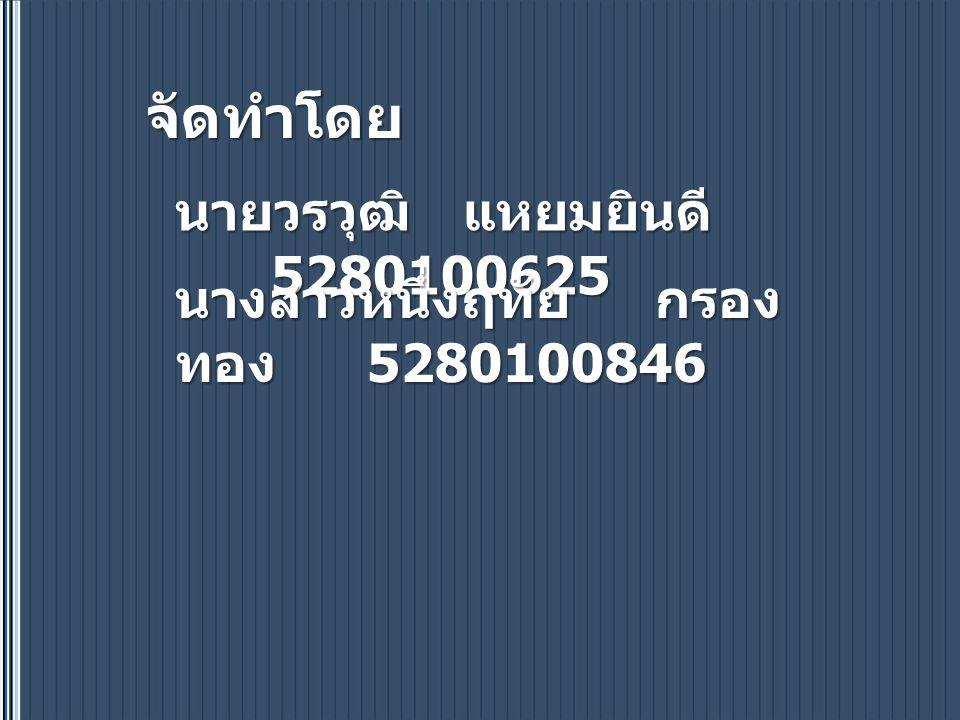 จัดทำโดย นายวรวุฒิแหยมยินดี 5280100625 นางสาวหนึ่งฤทัยกรอง ทอง 5280100846