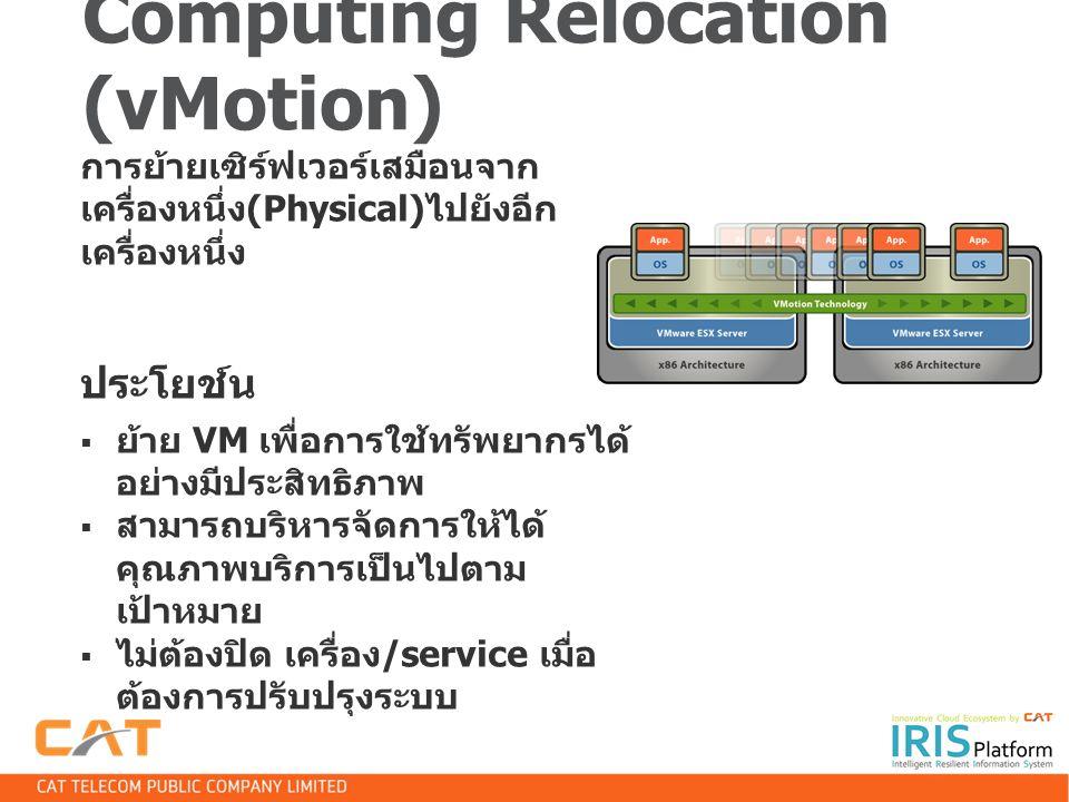 Computing Relocation (vMotion) การย้ายเซิร์ฟเวอร์เสมือนจาก เครื่องหนึ่ง (Physical) ไปยังอีก เครื่องหนึ่ง ประโยช์น  ย้าย VM เพื่อการใช้ทรัพยากรได้ อย่