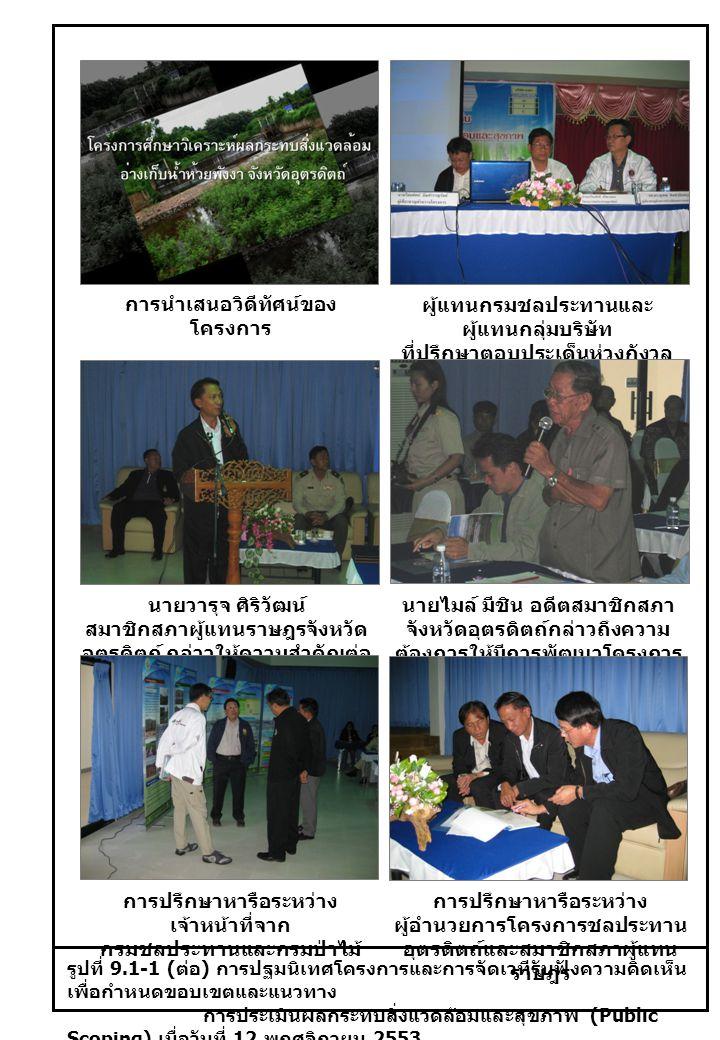 รูปที่ 9.1-1 ( ต่อ ) การปฐมนิเทศโครงการและการจัดเวทีรับฟังความคิดเห็น เพื่อกำหนดขอบเขตและแนวทาง การประเมินผลกระทบสิ่งแวดล้อมและสุขภาพ (Public Scoping) เมื่อวันที่ 12 พฤศจิกายน 2553 การนำเสนอวิดีทัศน์ของ โครงการ ผู้แทนกรมชลประทานและ ผู้แทนกลุ่มบริษัท ที่ปรึกษาตอบประเด็นห่วงกังวล และข้อสงสัย นายวารุจ ศิริวัฒน์ สมาชิกสภาผู้แทนราษฎรจังหวัด อุตรดิตถ์ กล่าวให้ความสำคัญต่อ โครงการ นายไมล์ มีชิน อดีตสมาชิกสภา จังหวัดอุตรดิตถ์กล่าวถึงความ ต้องการให้มีการพัฒนาโครงการ การปรึกษาหารือระหว่าง เจ้าหน้าที่จาก กรมชลประทานและกรมป่าไม้ การปรึกษาหารือระหว่าง ผู้อำนวยการโครงการชลประทาน อุตรดิตถ์และสมาชิกสภาผู้แทน ราษฎร
