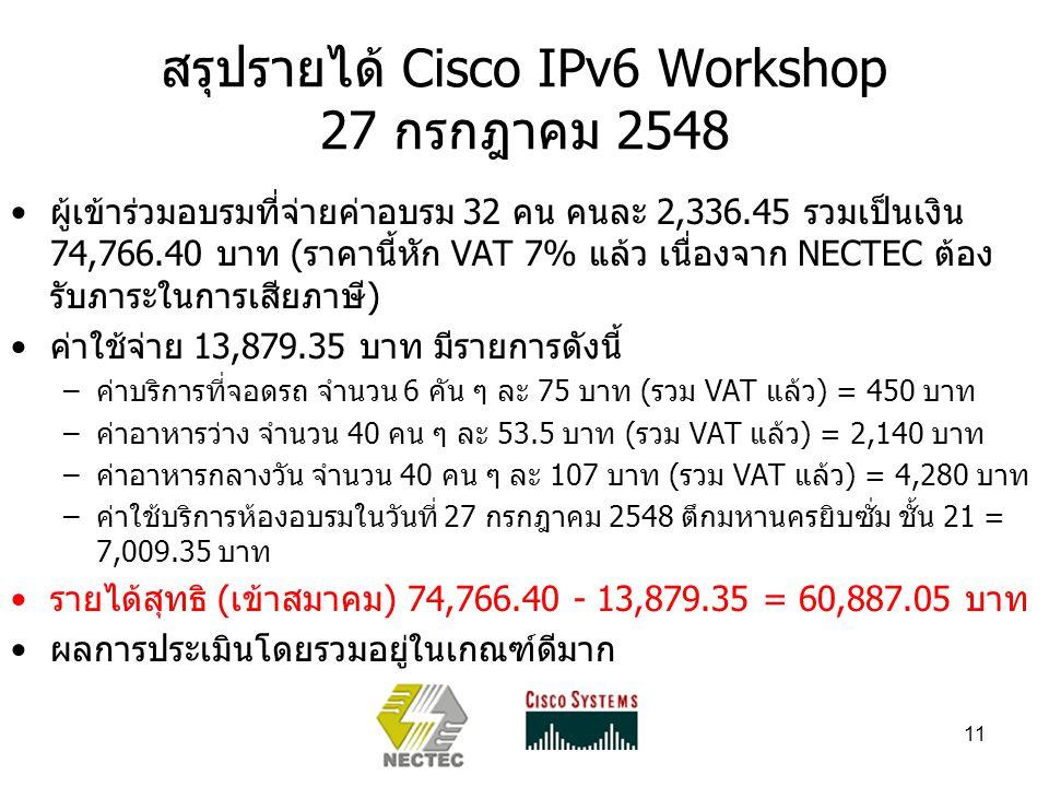 11 สรุปรายได้ Cisco IPv6 Workshop 27 กรกฎาคม 2548 ผู้เข้าร่วมอบรมที่จ่ายค่าอบรม 32 คน คนละ 2,336.45 รวมเป็นเงิน 74,766.40 บาท (ราคานี้หัก VAT 7% แล้ว เนื่องจาก NECTEC ต้อง รับภาระในการเสียภาษี) ค่าใช้จ่าย 13,879.35 บาท มีรายการดังนี้ –ค่าบริการที่จอดรถ จำนวน 6 คัน ๆ ละ 75 บาท (รวม VAT แล้ว) = 450 บาท –ค่าอาหารว่าง จำนวน 40 คน ๆ ละ 53.5 บาท (รวม VAT แล้ว) = 2,140 บาท –ค่าอาหารกลางวัน จำนวน 40 คน ๆ ละ 107 บาท (รวม VAT แล้ว) = 4,280 บาท –ค่าใช้บริการห้องอบรมในวันที่ 27 กรกฎาคม 2548 ตึกมหานครยิบซั่ม ชั้น 21 = 7,009.35 บาท รายได้สุทธิ (เข้าสมาคม) 74,766.40 - 13,879.35 = 60,887.05 บาท ผลการประเมินโดยรวมอยู่ในเกณฑ์ดีมาก