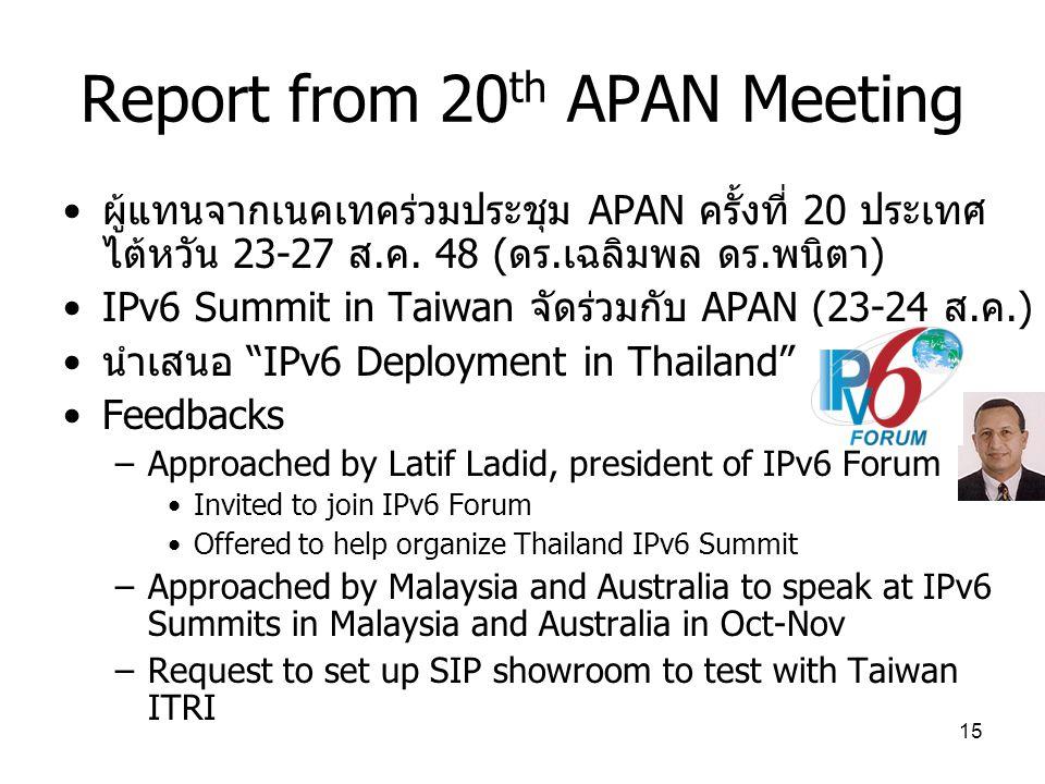 15 Report from 20 th APAN Meeting ผู้แทนจากเนคเทคร่วมประชุม APAN ครั้งที่ 20 ประเทศ ไต้หวัน 23-27 ส.ค.