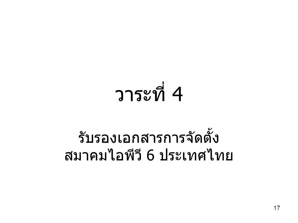 17 วาระที่ 4 รับรองเอกสารการจัดตั้ง สมาคมไอพีวี 6 ประเทศไทย