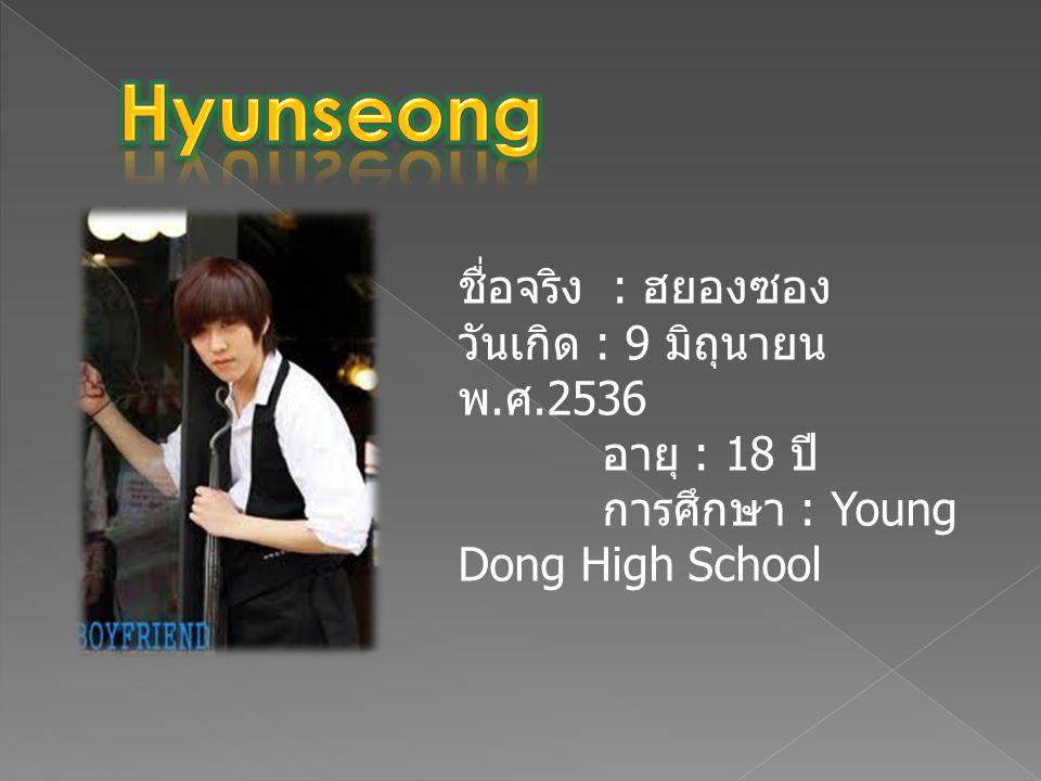 ชื่อจริง : ฮยองซอง วันเกิด : 9 มิถุนายน พ. ศ.2536 อายุ : 18 ปี การศึกษา : Young Dong High School