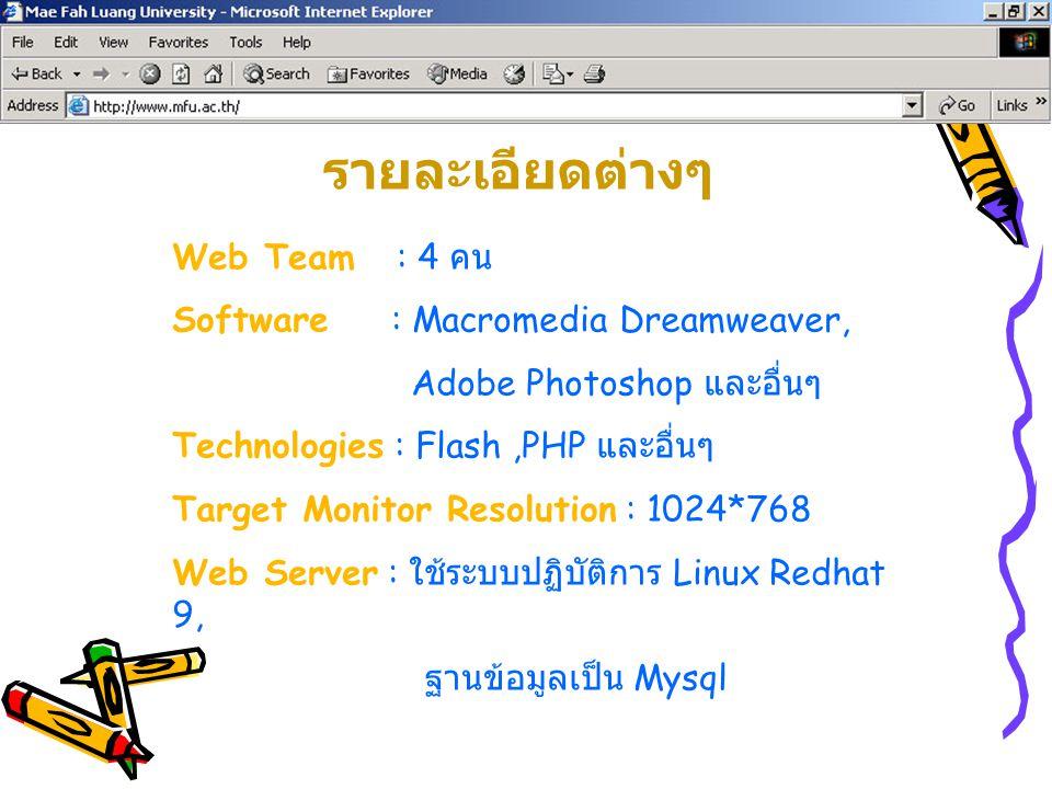 Web Team : 4 คน Software : Macromedia Dreamweaver, Adobe Photoshop และอื่นๆ Technologies : Flash,PHP และอื่นๆ Target Monitor Resolution : 1024*768 Web
