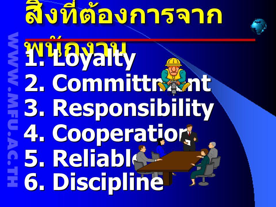 สิ่ งที่ต้องการจาก พนักงาน 1. Loyalty 2. Committment 3. Responsibility 4. Cooperation 5. Reliable 6. Discipline