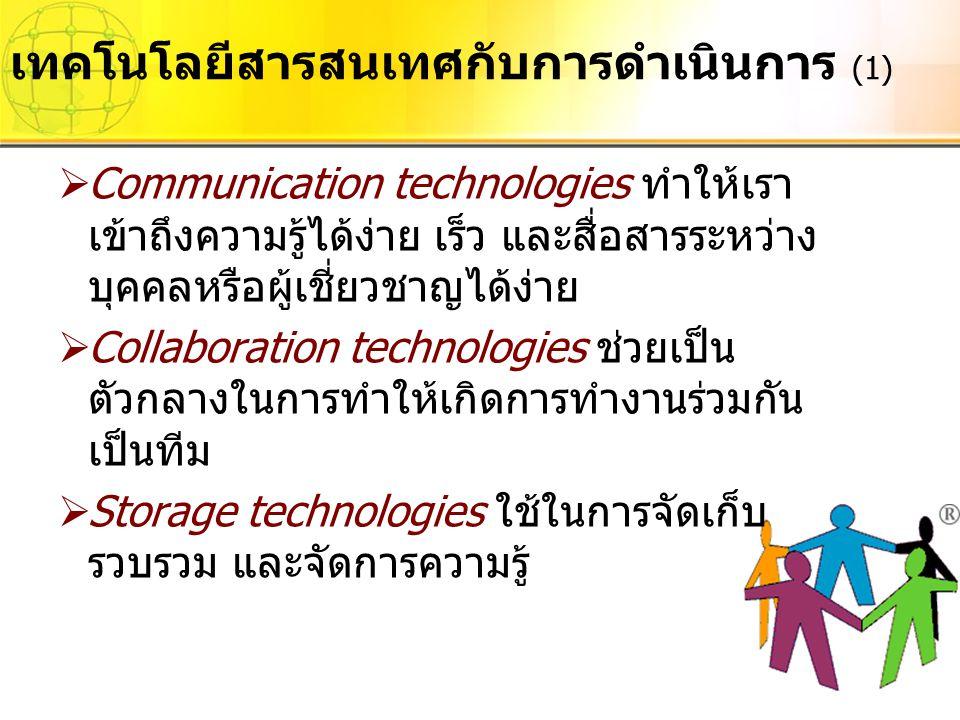  Communication technologies ทำให้เรา เข้าถึงความรู้ได้ง่าย เร็ว และสื่อสารระหว่าง บุคคลหรือผู้เชี่ยวชาญได้ง่าย  Collaboration technologies ช่วยเป็น