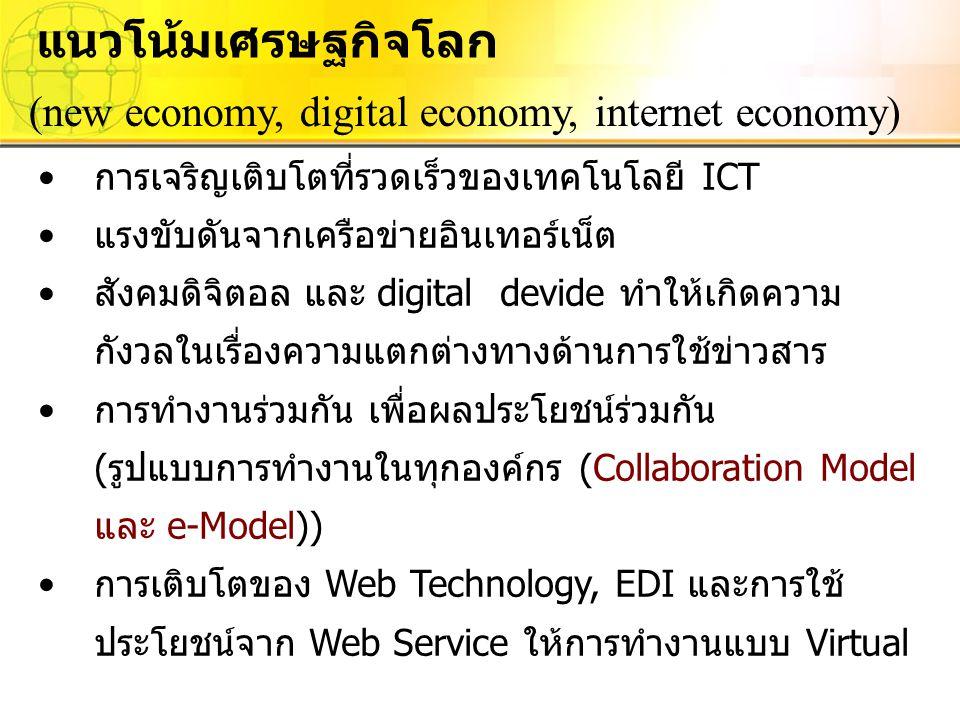 แนวโน้มเศรษฐกิจโลก (new economy, digital economy, internet economy) การเจริญเติบโตที่รวดเร็วของเทคโนโลยี ICT แรงขับดันจากเครือข่ายอินเทอร์เน็ต สังคมดิ