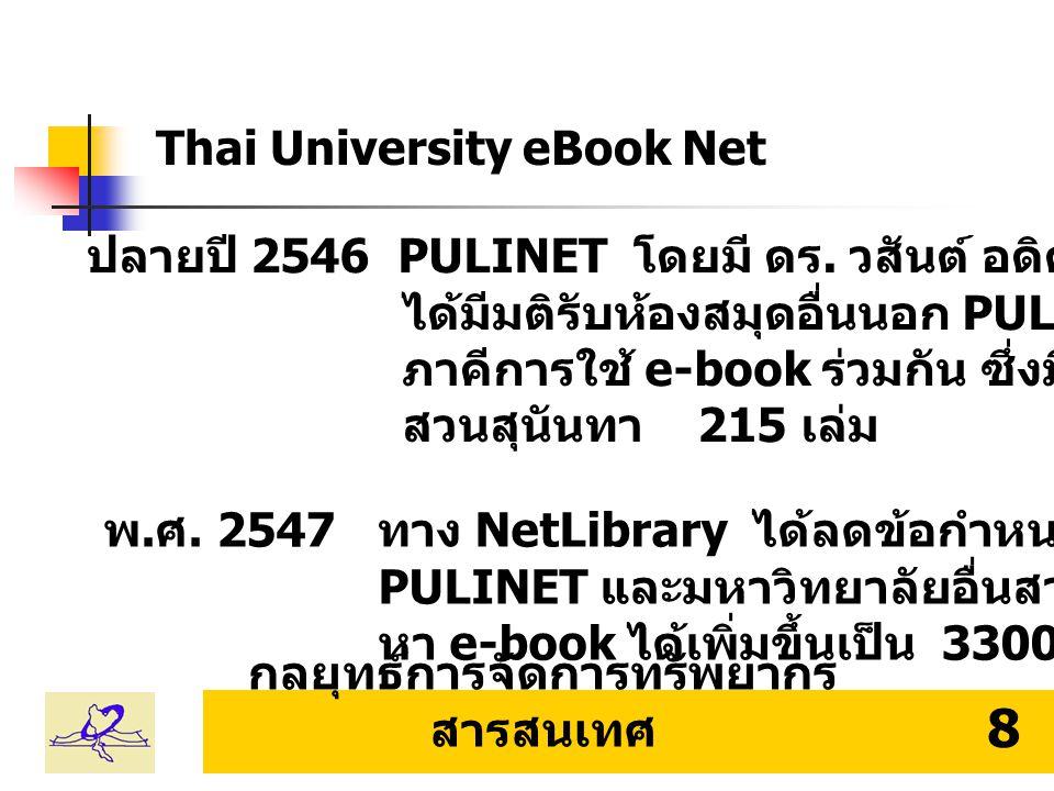 กลยุทธ์การจัดการทรัพยากร สารสนเทศ 9 Thai University eBook Net PULINET 15 ห้องสมุด มหาวิทยาลัยราชภัฏ 7 ห้องสมุด มหาวิทยาลัยเอกชน 8 ห้องสมุด Thai University eBook Net