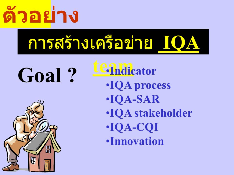 การสร้างเครือข่าย IQA team Goal ? ตัวอย่าง Indicator IQA process IQA-SAR IQA stakeholder IQA-CQI Innovation