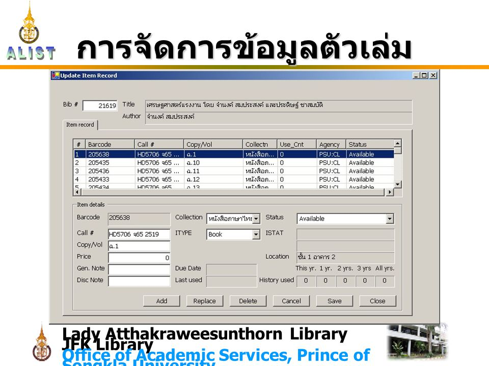 Lady Atthakraweesunthorn Library JFK Library Office of Academic Services, Prince of Songkla University การจัดการข้อมูลตัวเล่ม