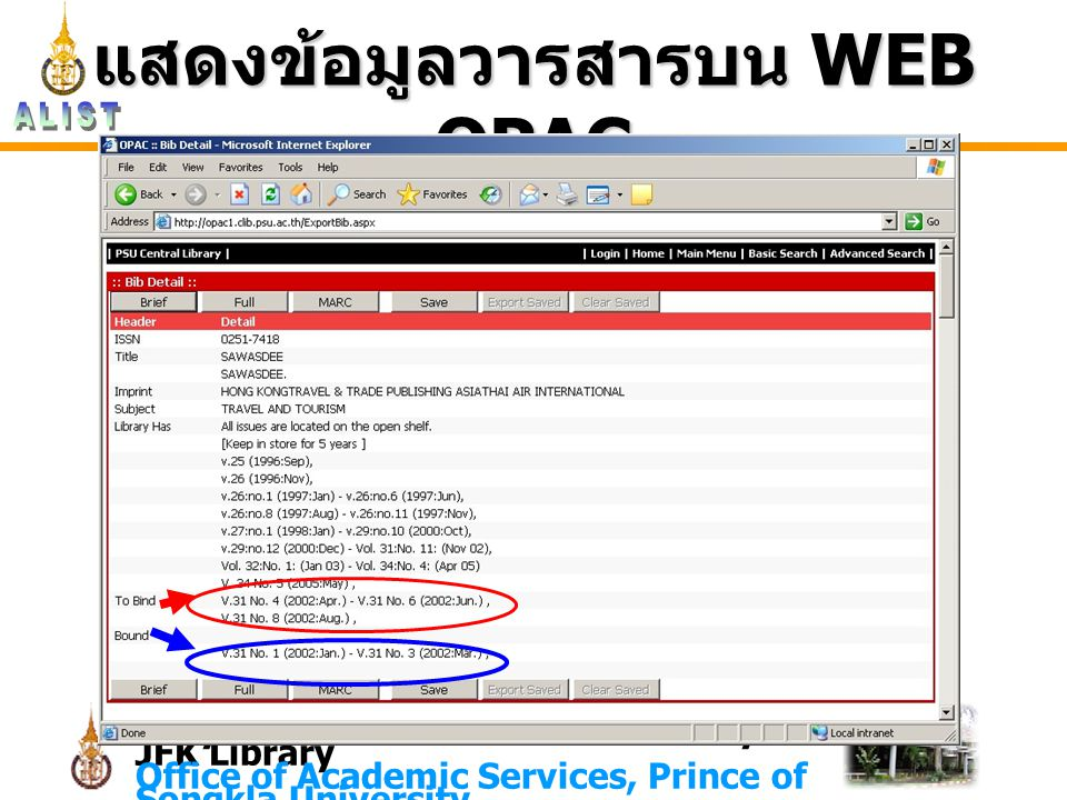 Lady Atthakraweesunthorn Library JFK Library Office of Academic Services, Prince of Songkla University แสดงข้อมูลวารสารบน WEB OPAC