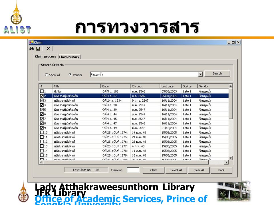 Lady Atthakraweesunthorn Library JFK Library Office of Academic Services, Prince of Songkla University การทวงวารสาร
