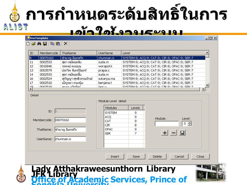 Lady Atthakraweesunthorn Library JFK Library Office of Academic Services, Prince of Songkla University การกำหนดระดับสิทธิ์ในการ เข้าใช้งานระบบ