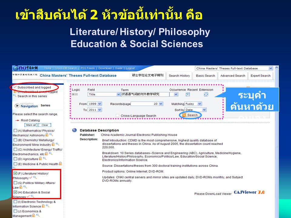 เข้าสืบค้นได้ 2 หัวข้อนี้เท่านั้น คือ Literature/ History/ Philosophy Education & Social Sciences ระบุคำ ค้นหาด้วย ตนเอง