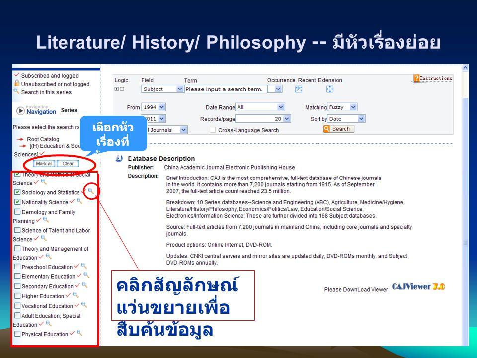 Literature/ History/ Philosophy -- มีหัวเรื่องย่อย เลือกหัว เรื่องที่ ต้องการ สืบค้น คลิกสัญลักษณ์ แว่นขยายเพื่อ สืบค้นข้อมูล